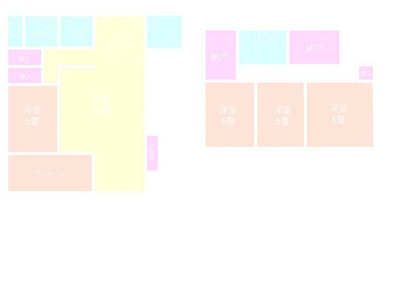 間取り図 4LDK+2納戸+サンルーム+お稽古場付ホームティーチャーにおすすめ【2階建地下1階付き】土地165m2建物152.94m2(地下駐車場19.82m2含む)バルコニーや中庭からの眺望良好