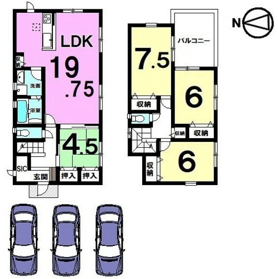 間取り図 19.75帖の大きなLDKが自慢のおうち。 全室南向きです。並列で駐車3台可能!