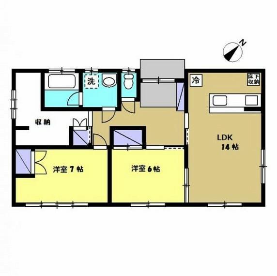 間取り図 【間取り図】2LDKのコンパクトなお家です。若い方でも住みやすいように、和室は洋室に変更しました。カウンターキッチンなので、家族の顔を見ながら夕飯の支度ができます。