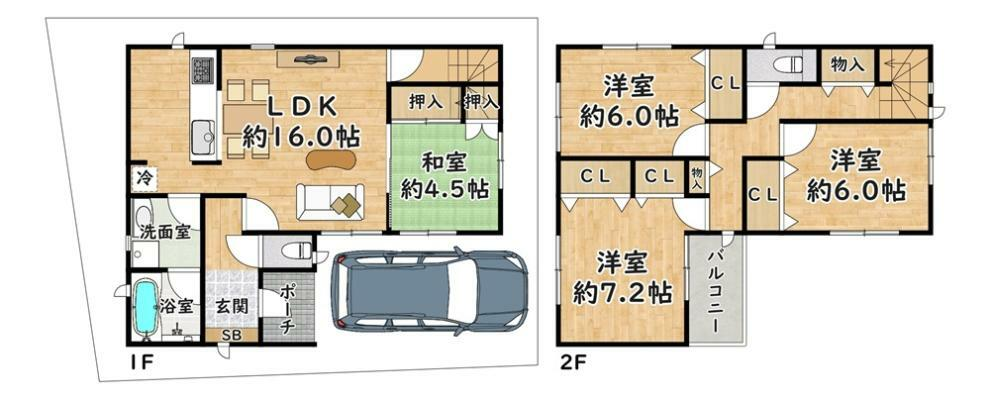 間取り図 5号地 - 間取り図 価格:2980万円 建物:99.22平米 土地:90.14平米  東側・幅員 約4.6m