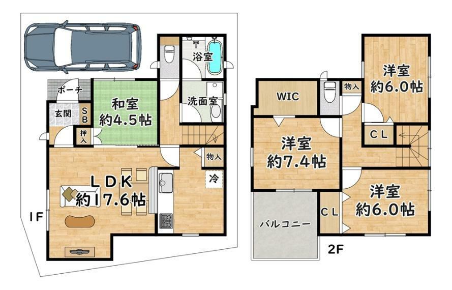 間取り図 7号地 - 間取り図 価格:2780万円 建物:98.60平米 土地:91.64平米  西側・幅員 約4.6m