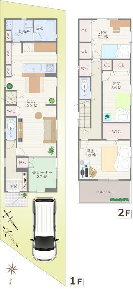 間取り図 1号地 - 間取り図 価格:3180万円 建物:105.70平米 土地:102.80平米  北側・幅員 約4.0m