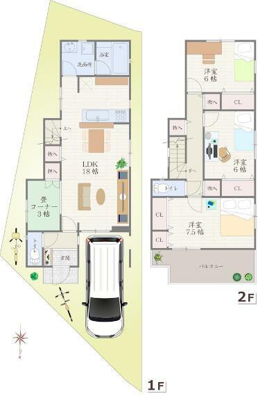 間取り図 2号地 - 間取り図 価格:3080万円 建物:101.51平米 土地:100.20平米  北側・幅員 約4.0m