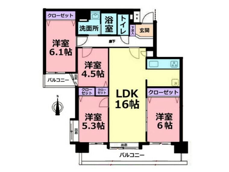 間取り図 マンションでは嬉しい4LDK!リノベーション済なので新築マンションのような内装です!LDKも広く、洋室と繋げて使えばもっと広い空間になります!
