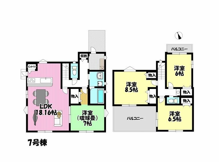 間取り図 4LDK 2面バルコニー 全室2面採光 6帖以上でゆとりのあるお部屋です