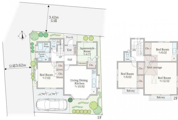 土地図面 現在の建物は「ミサワホーム」の5LDK、注文住宅です。建替えの時にもほぼ同じサイズの建物が建てられますので、注文住宅の間取りの参考やご検討材料にぜひお役立てください。