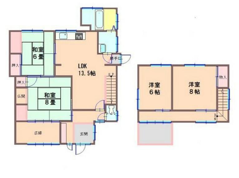 間取り図 昭和52年11月築/造2階建て/建物面積107.89平米(32.63坪)4LDKです。水回りの交換を中心としたリフォームでリフレッシュしましたのでさわやかに新生活をスタートできますよ。