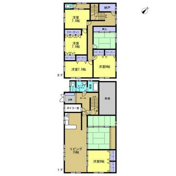間取り図 【間取り図】1階2部屋の6SLDK住宅です。駐車もカーポートと組み込み車庫で合計3台駐車可能なのでご家族が多いご家庭にピッタリです。