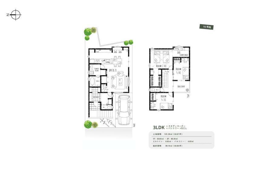間取り図 15号地■グレイッシュ■シューズクロークやパントリー、ウォークインクロークなど、随所に配置した収納スペースでお家はいつもスッキリ。また、主寝室にはドレッサースペースや、書斎スペースに使える空間を設けました。