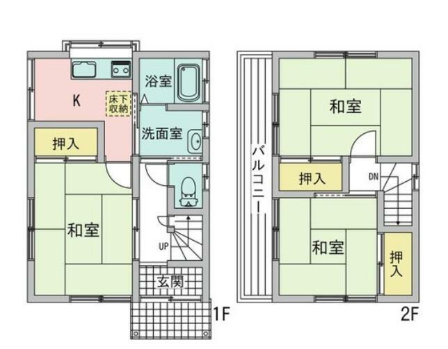 間取り図 780万円、3K、土地面積64.89m2、建物面積52.16m2