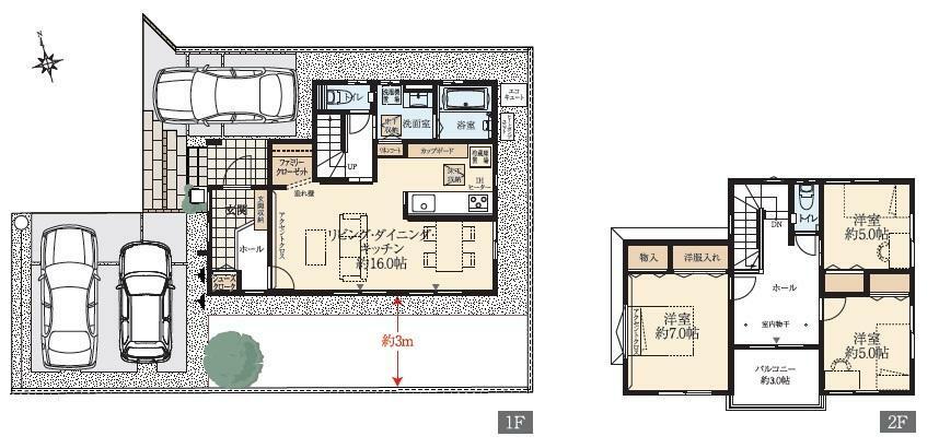 間取り図 NO.3 1階には収納に便利なファミリークローゼットをご用意。リビングイン階段を採用しています。2階ホールには室内物干しを採用。