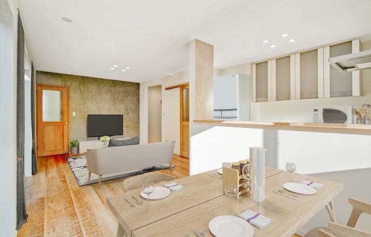 リビングダイニング NO.3 リビングにはアクセントクロスを採用。※家具はCG合成イメージです