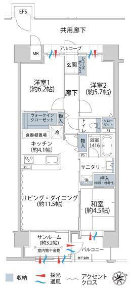 アルファステイツ上田大手門(3LDK) 9階の間取り