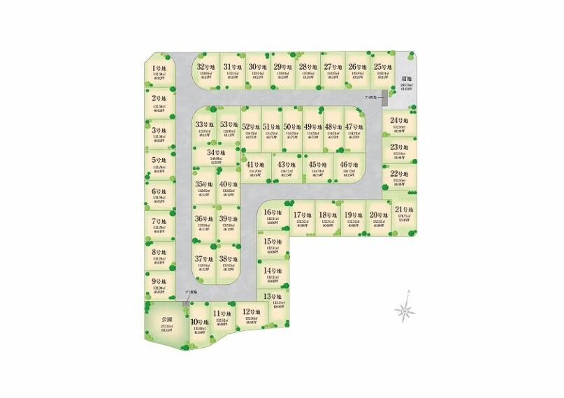 区画図 ■注文住宅用地 全区画40坪以上 ■庭先にガーデンライトを設置 やさしい灯りの街 ■子育て世代にうれしいビッグタウン 全50区画の街