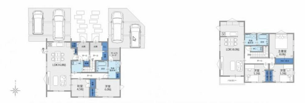 参考プラン間取り図 【親子二世帯住宅 参考プラン】 玄関は隣同士ですが、1Fは親世帯としてお使いいただけます。 駐車場はそれぞれ2台ずつ確保できます。 2Fは、子世帯としてお使いいただけます。
