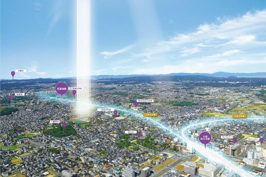 現況写真 近鉄大和西大寺駅徒歩14分、全34区画の街。