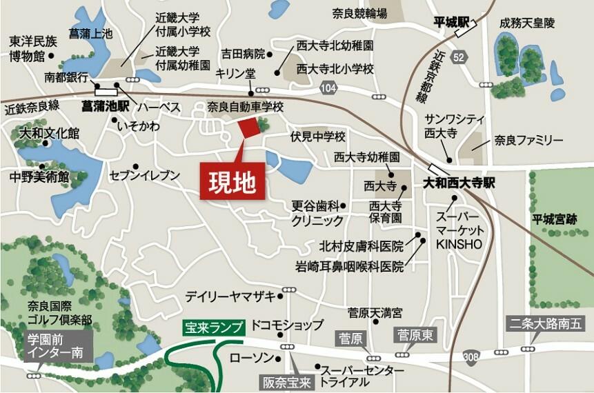 参考プラン間取り図 【案内図】※お車でご来場の際は、「奈良自動車学校」を目的地に設定していただければ スムーズにお越しいただけます。販売センターならびに駐車場もご用意しております。