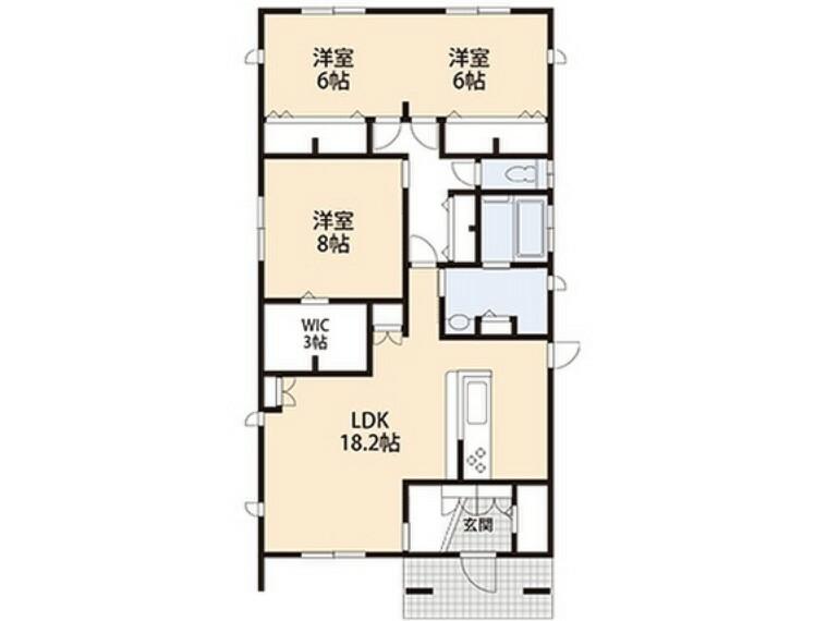 間取り図 階段の上がり下がりの負担が無い平屋プラン。全室6帖以上のゆったりサイズです。