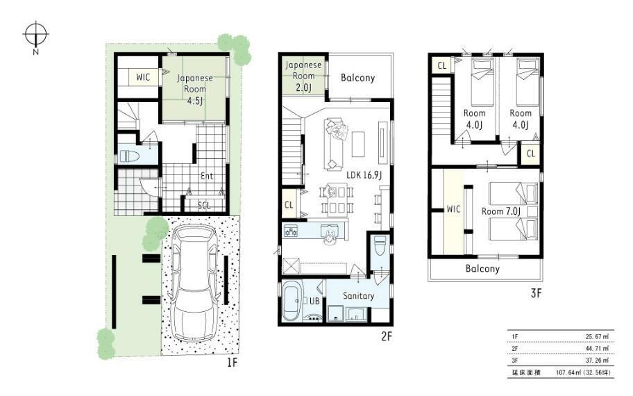 間取り図 1号地プラン図■2階に水廻りを集中させ、家事動線のとれたママに優しい間取。シューズクロークやウォークインクローゼットも設置し、収納場所に困らないお家です!