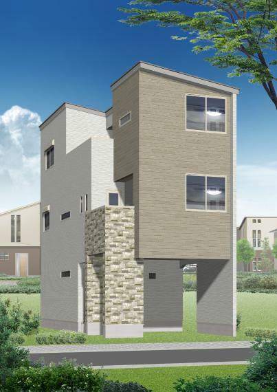 完成予想図(外観) 3号地・外観パース画像■ホワイトをベースカラーにした外観。長く住むお家なので外観もデザイン性をもたせました。