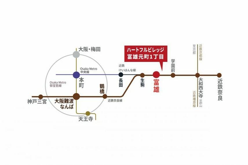 参考プラン間取り図 【路線図】近鉄奈良線「富雄駅」まで徒歩7分!大阪・京都へのアクセスもスムーズなので通勤が快適!仕事帰りにお買い物やお子さまのお迎えもしやすい住環境です。