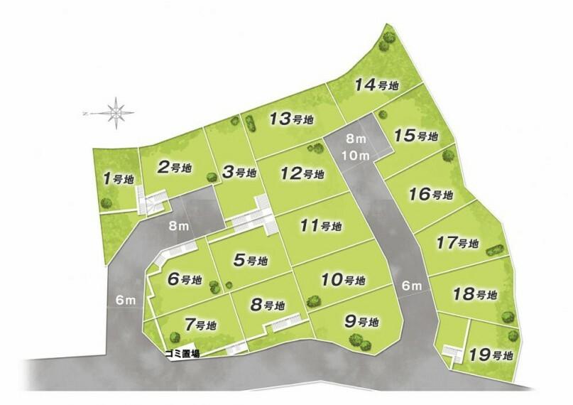 区画図 区画図 全18区画 近鉄奈良線「富雄駅」から徒歩7分!駅チカで叶える共働き家族が暮らしやすい街