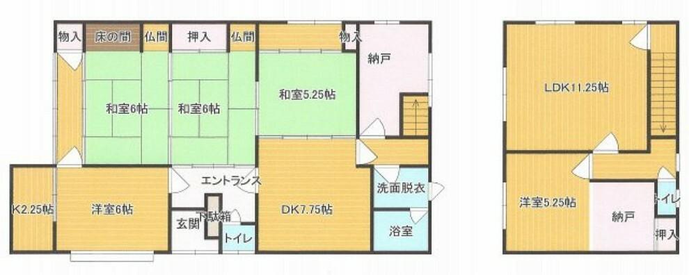 間取り図 6DK+Sの部屋数豊富な間取りです。