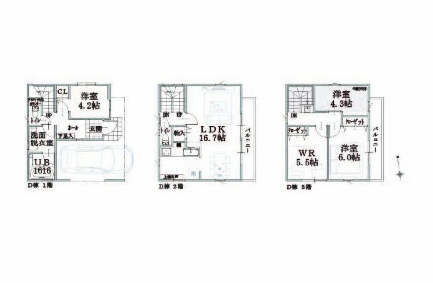 間取り図 D号棟 敷地面積:60.18平米 延床面積:106.20平米