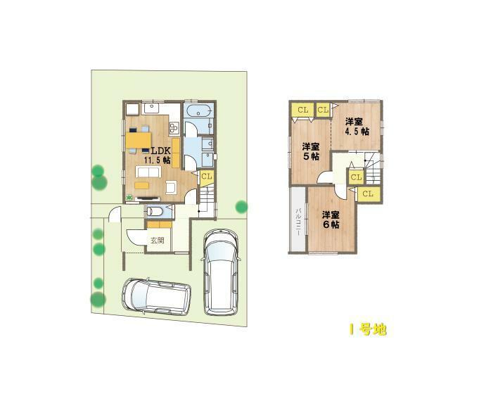 間取り図 (1号地間取り図)2階の居室はご家族様の人数や生活スタイルに合わせて、分けたりくっつけたり。フレキシブルに対応可能です。