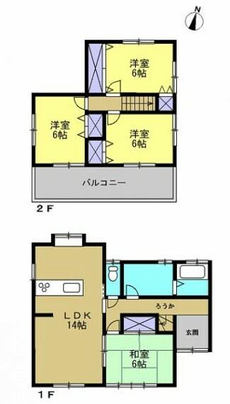間取り図 【リフォーム済】 間取りは4LDKの二階建てです。 1階に和室1部屋とLDK、2階は洋室3部屋となっております。 全室6帖以上で十分な部屋数がありますので、ご家族でも住みやすい住宅です。