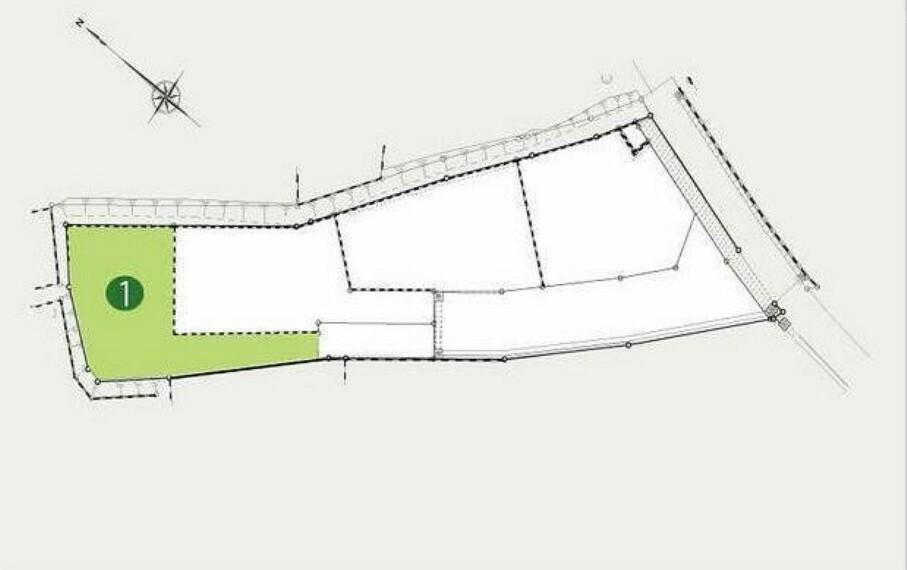 区画図 全4区画の売地。No.1は開発道路より少し奥に入った旗竿地です。