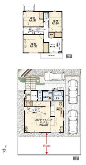 間取り図 NO.3-3 オープンリビング階段と吹き抜けのあるLDKは約20帖。リビングや2階ホール、全居室に収納を完備。