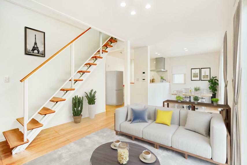 リビングダイニング No.6-17 子育て世帯に人気のリビング階段。スケルトン採用でお洒落な雰囲気となりました。(※家具はイメージです。実際には配置されておりません。)