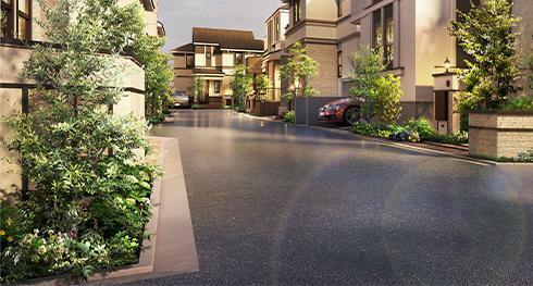 完成予想図(外観) <街全体の統一感を創出する、 石貼りのアクセントライン(笠石)> 統一感のある美しい街並みを創出するために、笠石などの水平ラインを用い街のアクセントとしています。水磨き仕上げの御影石を採用