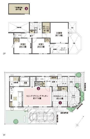 間取り図 No.4 3LDK  土地面積:120.1平米 建物面積:101.43平米   家族で多彩に使えるDOMAスペースのある邸。 ■扉を開ければ約22.8畳の大空間としても利用できるDOMAスペース。 ■バットレスを設けて高いプライバシー性を確保したテラス。
