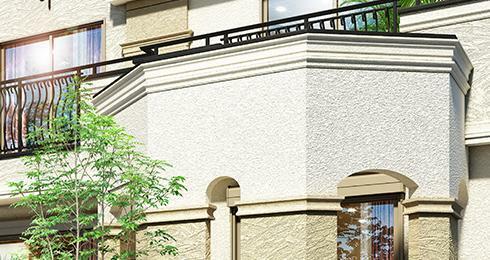 完成予想図(外観) 私邸感を演出する、プライバシーに配慮したバットレス。 街区の随所に、重厚感と品格を感じさせるバットレスを配置。アーチ型の開口部分がエレガントな雰囲気を与えるだけでなく、邸宅としてのプライバシーを確保