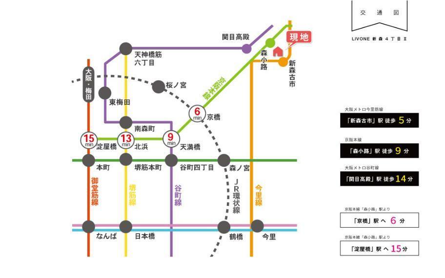 交通図■地下鉄今里筋線「新森古市」駅 徒歩5分