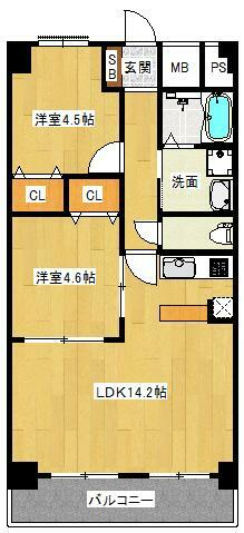 間取り図 2LDK 専有面積56.7平米 バルコニー面積7.56平米