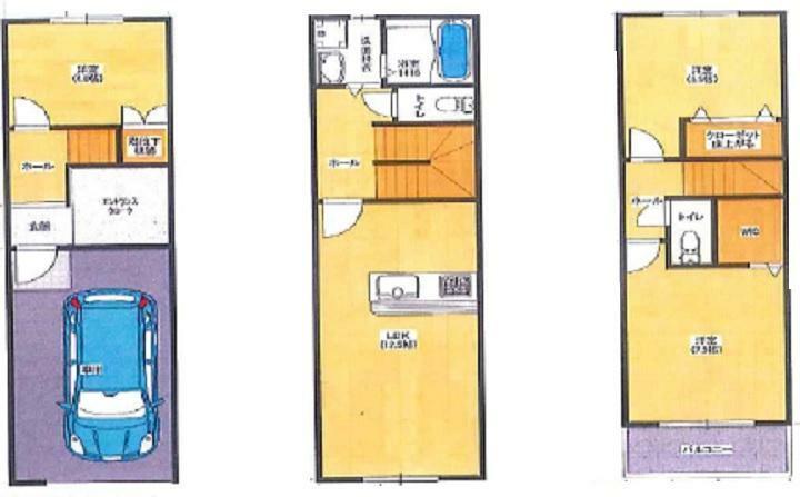 参考プラン間取り図 3LDK+車庫 建延面積 103.68平米 3階建て
