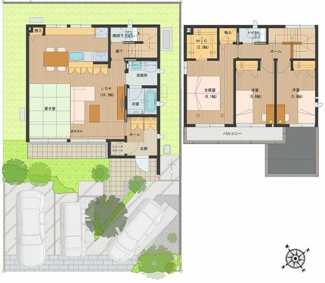 間取り図 間取図:8-6号地 廊下を無くし、LDKを広くした間取り。その広いLDKは、子供の成長に合わせた使い方が可能です。たちあがりのあるキッチンは、使い勝手が良いと好評です。