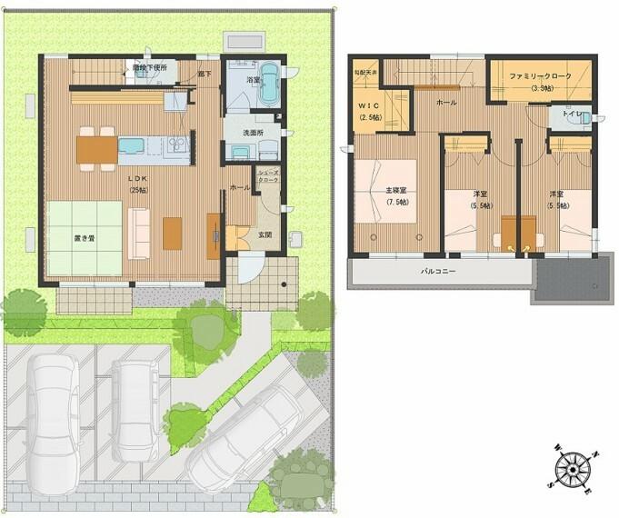 間取り図 間取図:8-7号地 キッチンを中心としたリビング階段の間取り。階段を北側にし、LDKをシンプルに広くとることで、LDKの使い勝手が広がりました。2階にファミリークロークを設け、収納量を確保しました。