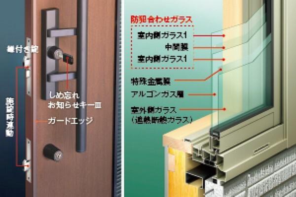 防犯設備 積水ハウスは、標準仕様で玄関に「1アクション2ロック※1」を採用。窓も2ロックとし、ハンマーで叩いても貫通しにくい「防犯合わせ複層ガラス※2」を使用しています。様々な防犯アイテムをご用意し、ご家族の要望に合わせた防犯対策を提案しています。※1主錠をロックすると補助錠も連動してロックします。※2一部の窓仕様を除きます。