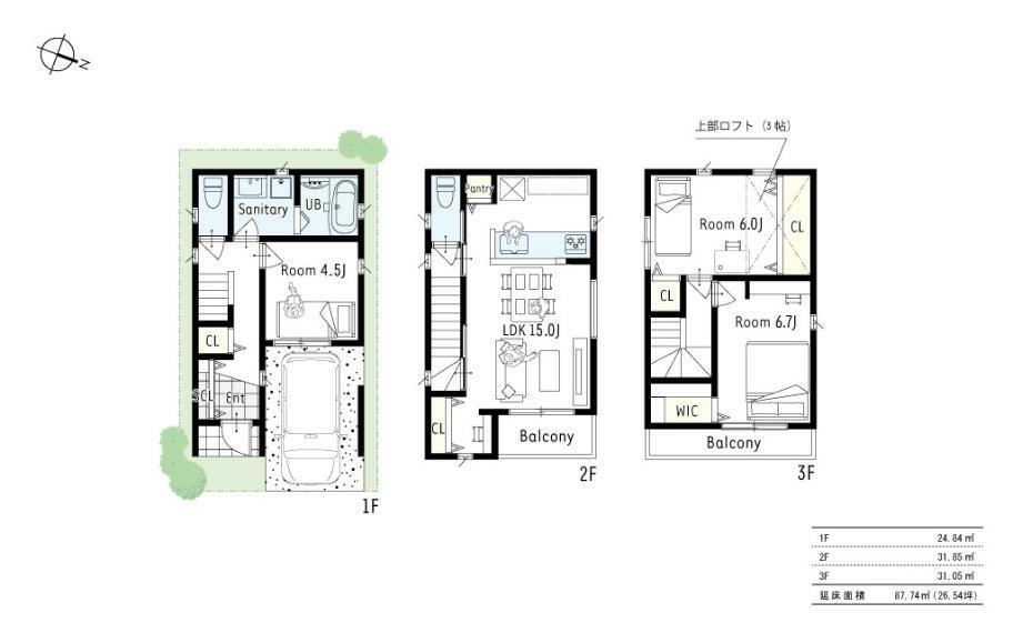 間取り図 2号地プラン■ロフト付きの3LDK。2階・3階にバルコニーを設け、外からの光をより多く取り込む間取に。3階の洋室にはWCLと収納を充実させました。