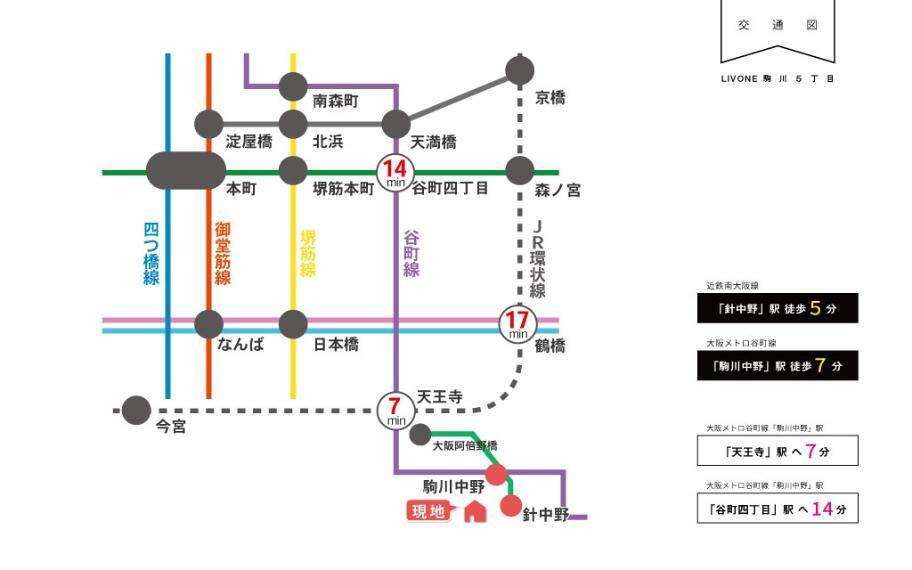 交通図■近鉄南大阪線「針中野」駅より徒歩5分