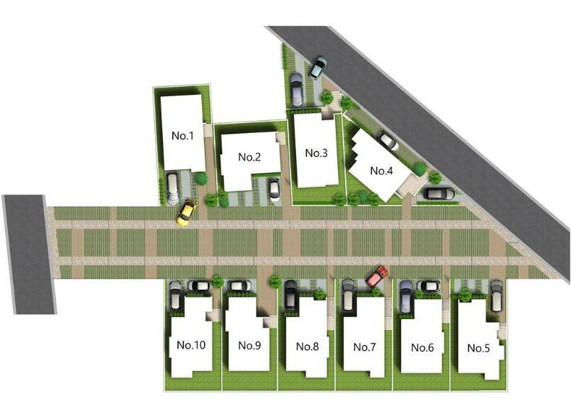 区画図 10m幅のコミュニティ広場からなる新しい街並み