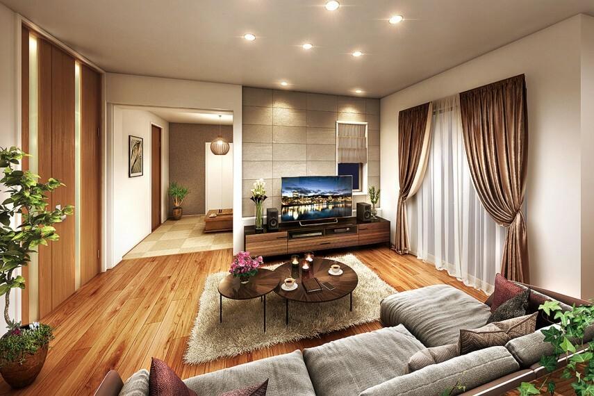 居間・リビング 【リビングと一体に使える続き間】  リビングと一体にして使うことのできるテキスタイルフロアルームを設けたプラン。和室と洋室の中間のような存在で、家族の暮らし方に応じて様々な使い方が出来ます。/PLAN2