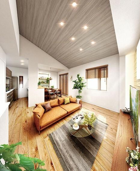 居間・リビング 【開放的な2階リビング】  採光・通風・プライバシー面にも配慮し、2階にリビングを配置したプラン。フロアや天井には木の温もりを感じるアクセントをあしらい、開放的でのびやかな空間を演出します。/PLAN3