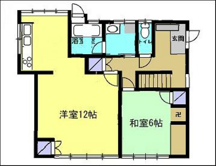 間取り図 【リフォーム前・間取り図】こちらはリフォーム前の間取りになります。台所と洋室を一つのLDKへと変更致します。