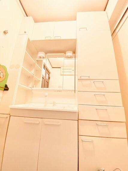 洗面化粧台 洗面台横にはタオルやランドリー関係の収納に便利な棚が併設されています。