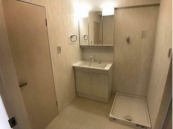 洗面化粧台 手前のドアはトイレです。
